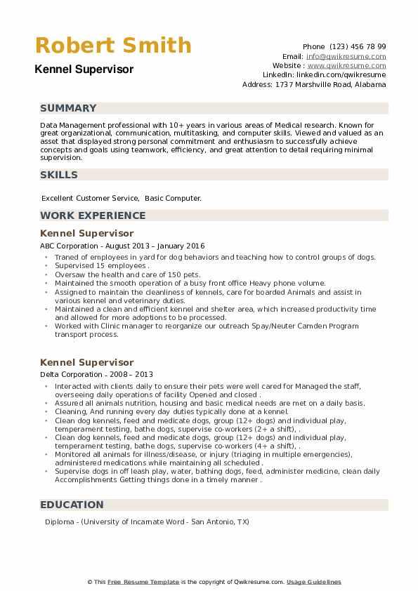 Kennel Supervisor Resume example