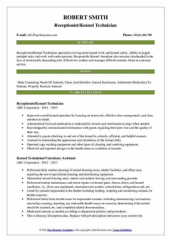 Kennel Technician Resume Samples