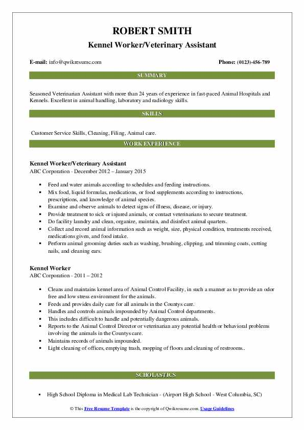 Kennel Worker/Veterinary Assistant Resume Model