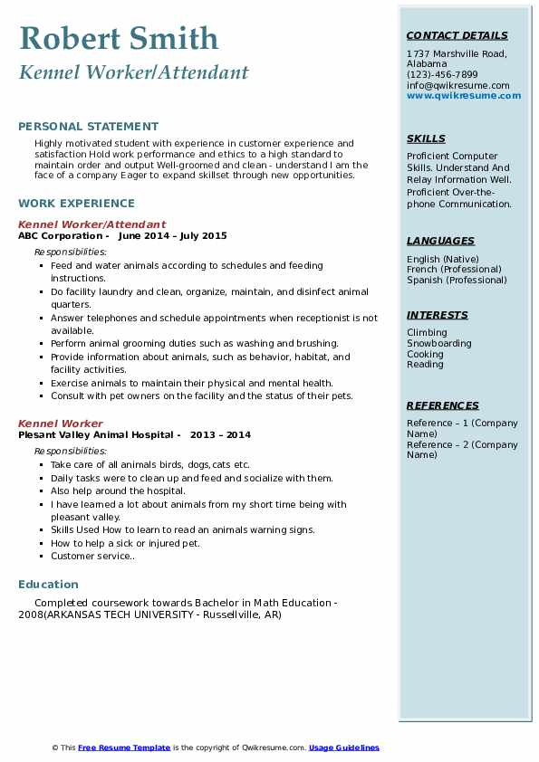 Kennel Worker/Attendant Resume Example