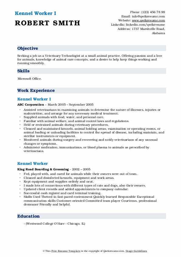 Kennel Worker I Resume Format