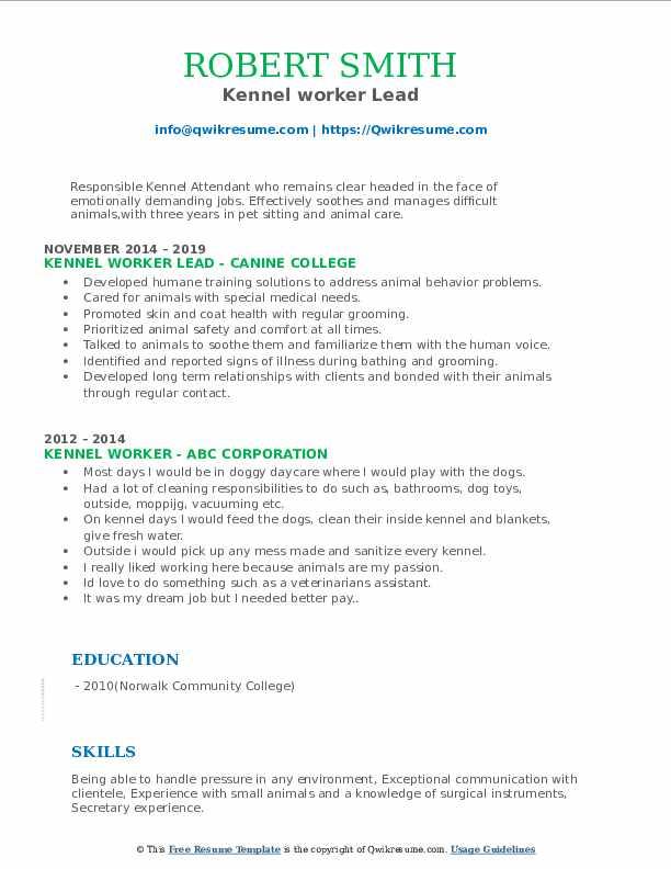 Kennel worker Lead Resume Template