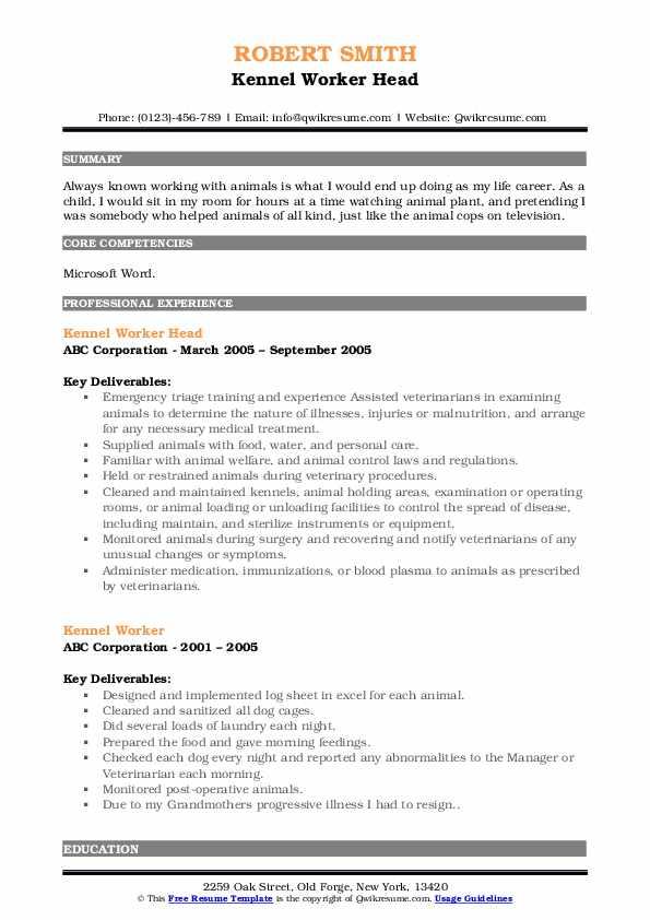 Kennel Worker Head Resume Example