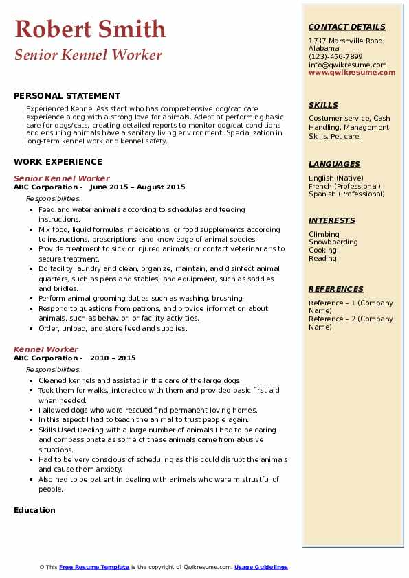 Senior Kennel Worker Resume Example