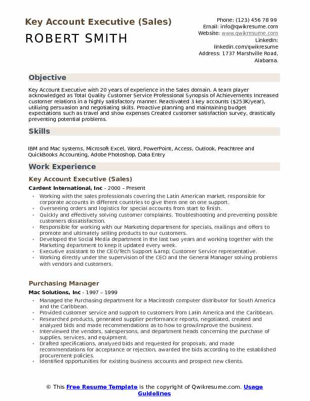 key account executive resume samples