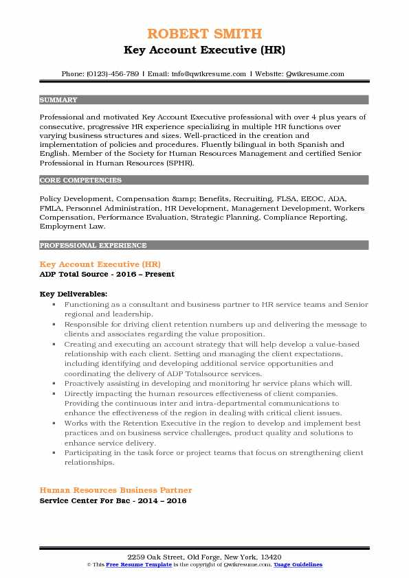 Key Account Executive (HR) Resume Format