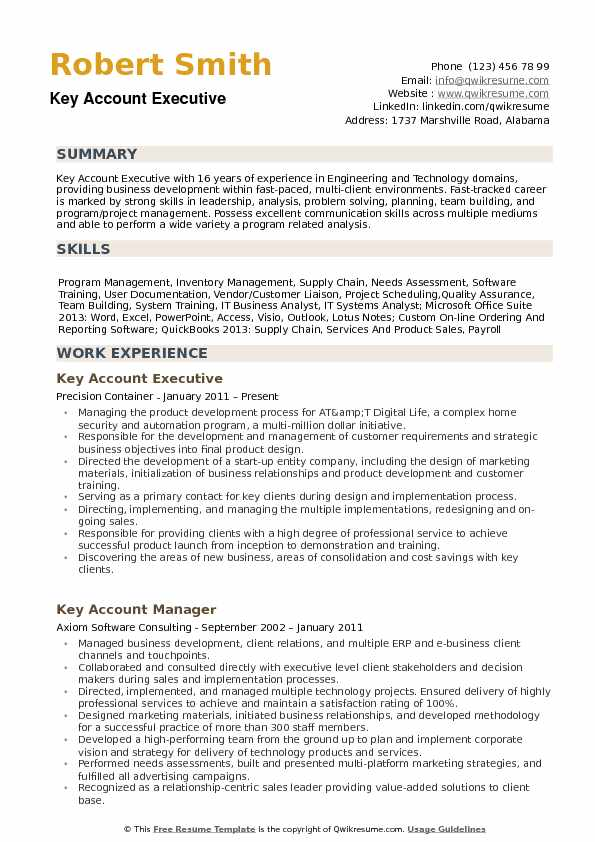 Key Account Executive Resume Samples Qwikresume