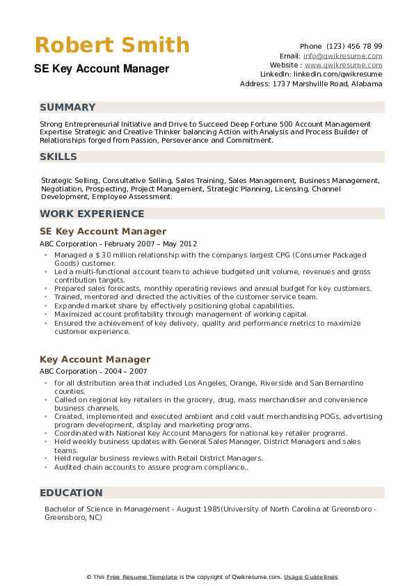 Global Account Manager/Supervisor Resume Format