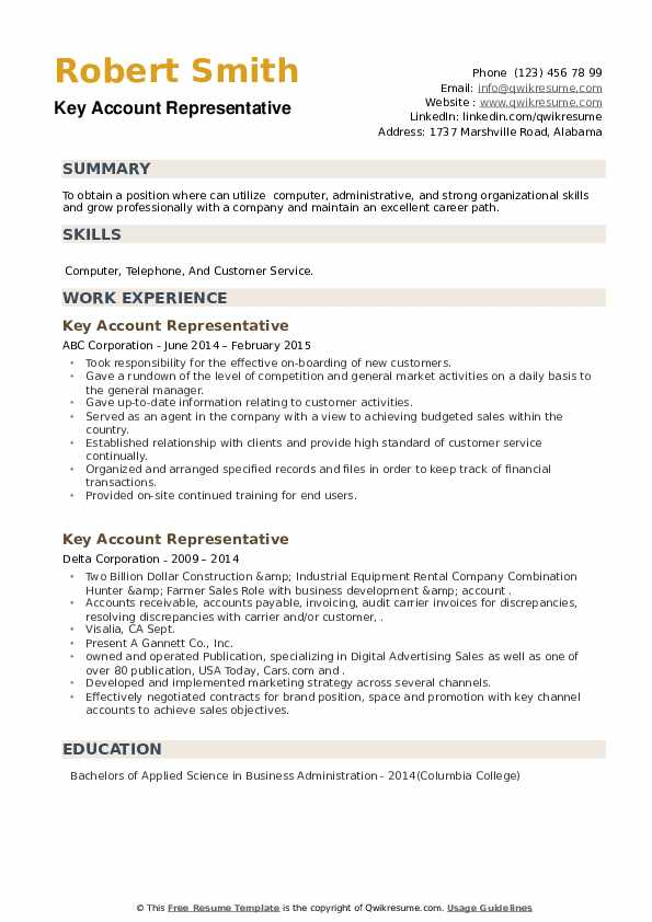 Key Account Representative Resume example
