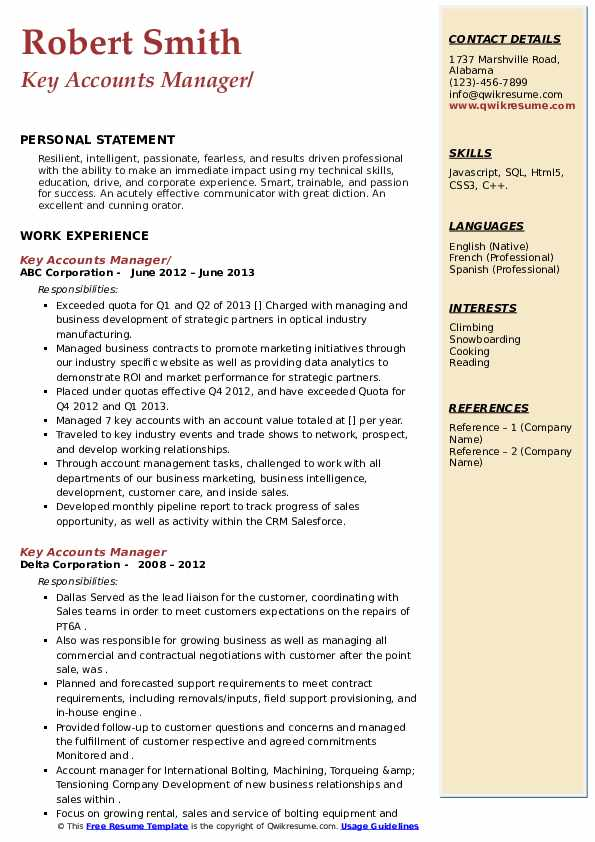 Key Accounts Manager Resume example