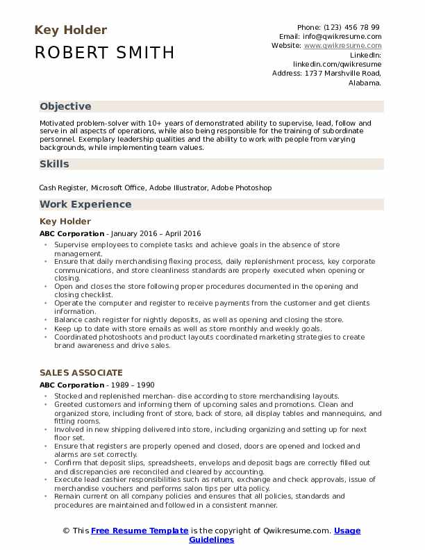 key holder resume samples