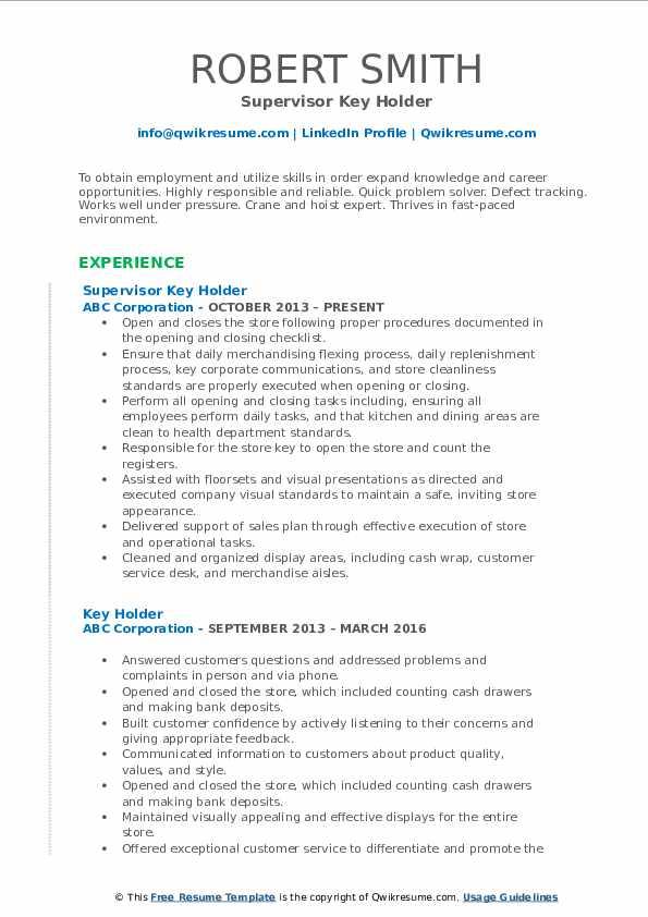 Supervisor Key Holder Resume Template