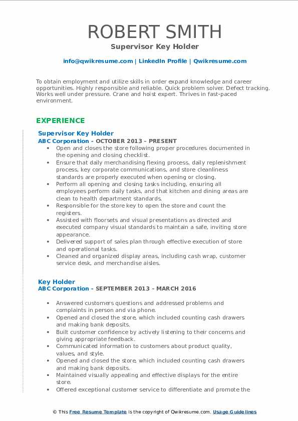 Supervisor Key Holder Resume Example