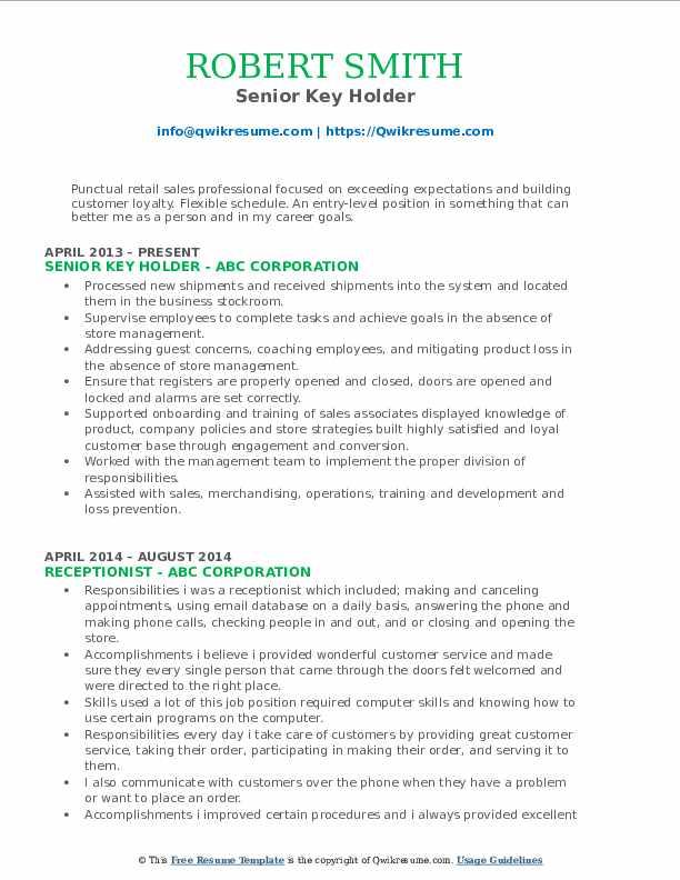 Senior Key Holder Resume Template