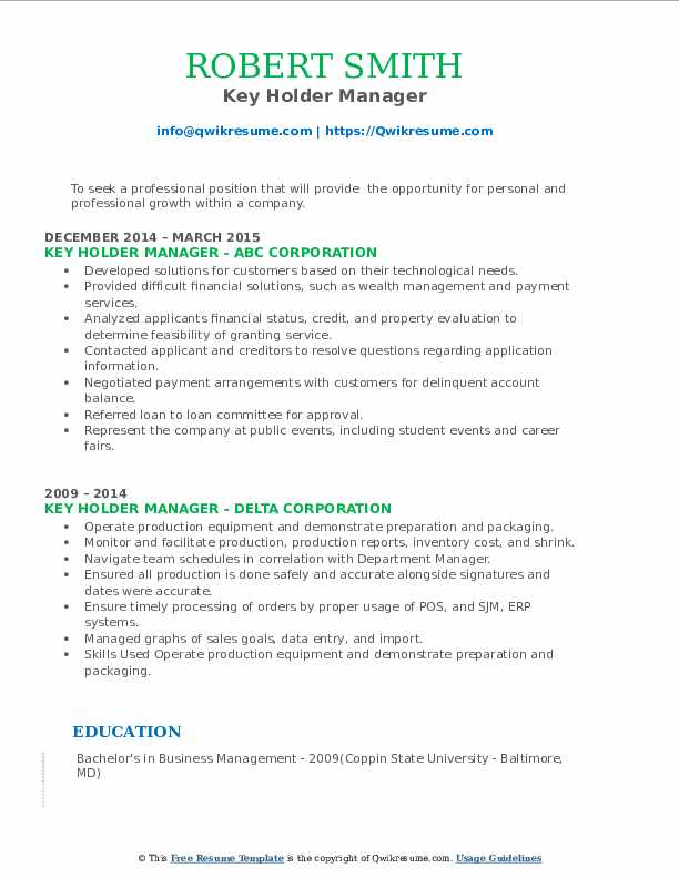key holder manager resume samples