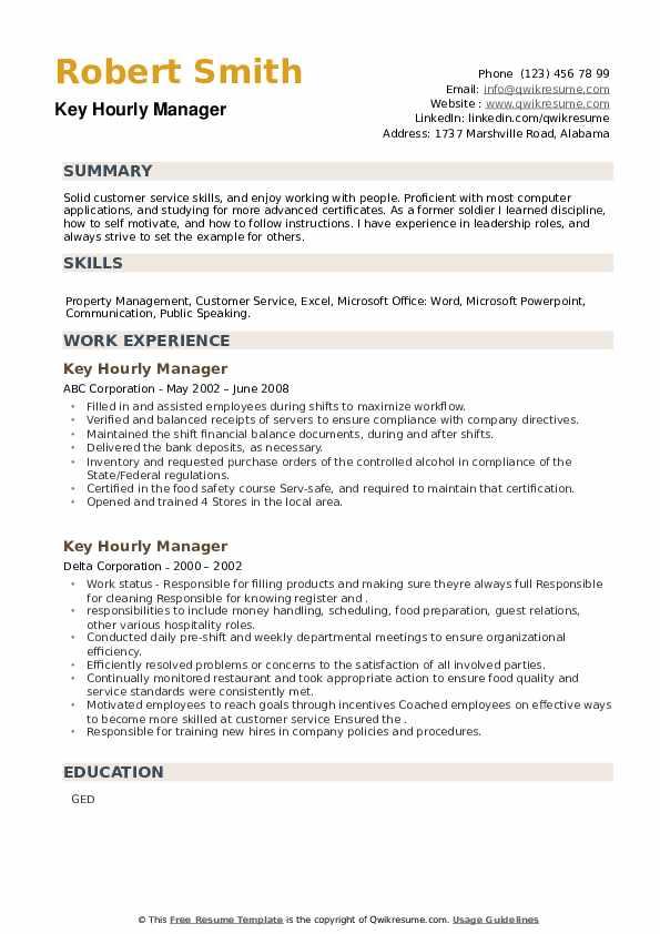Key Hourly Manager Resume example