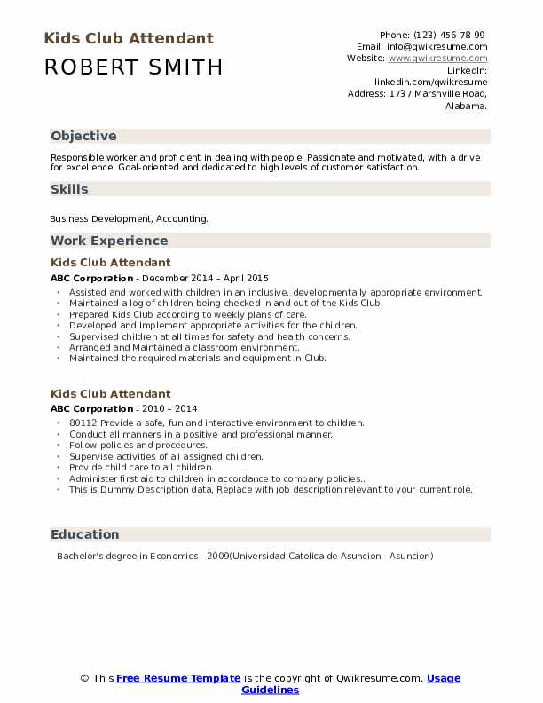 Kids Club Attendant Resume example