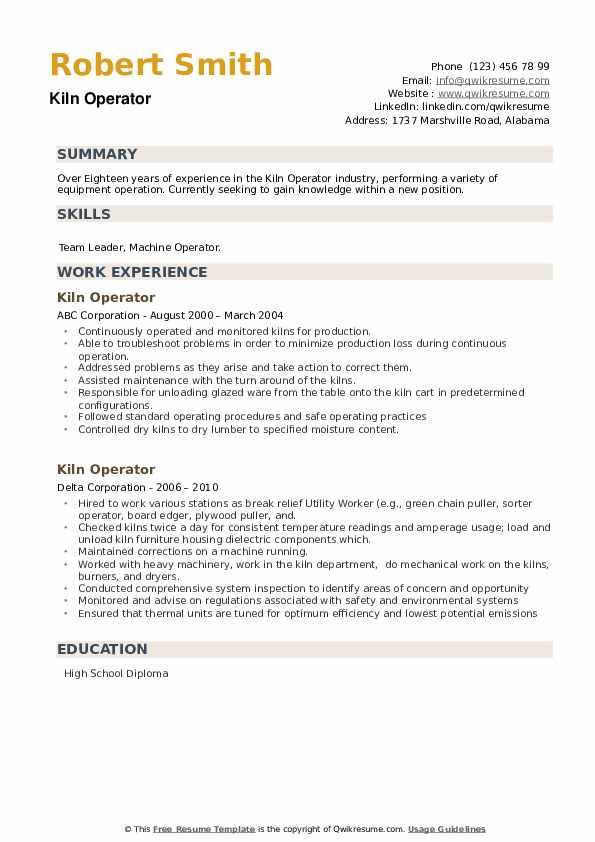 Kiln Operator Resume example