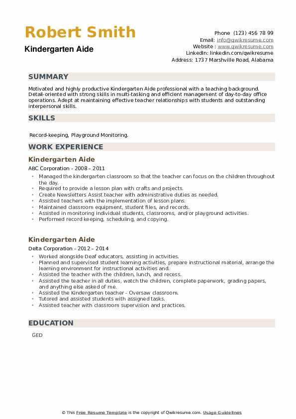 Kindergarten Aide Resume example