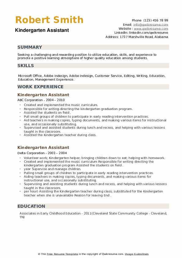Kindergarten Assistant Resume example