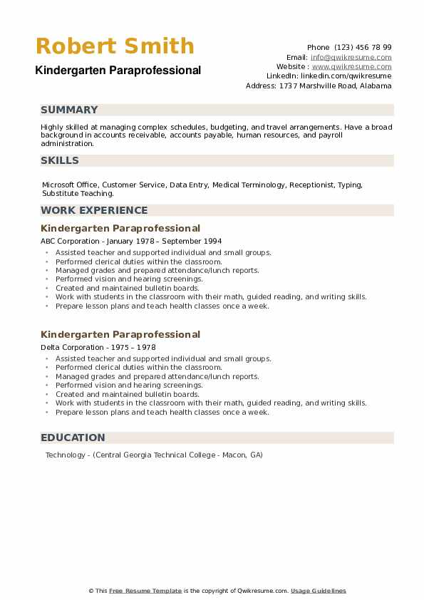 Kindergarten Paraprofessional Resume example
