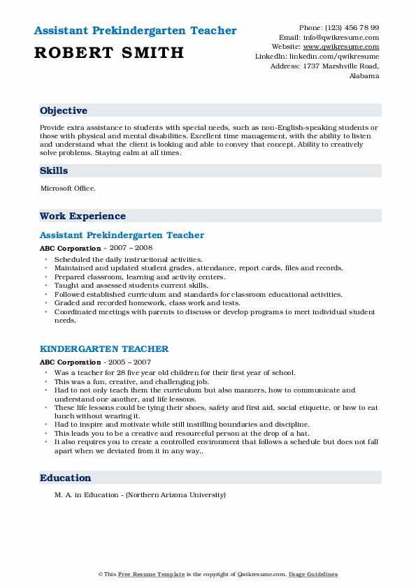 Assistant Prekindergarten Teacher Resume Sample
