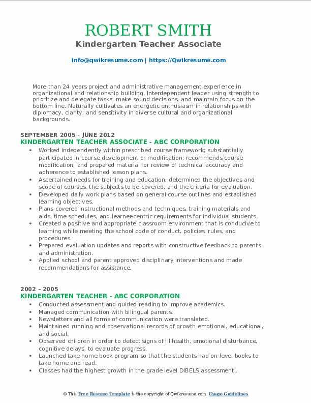 Kindergarten Teacher Associate Resume Format
