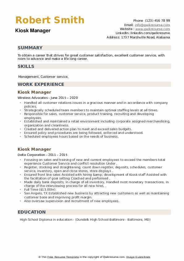 Kiosk Manager Resume example