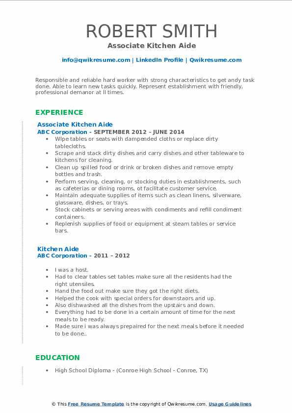 Associate Kitchen Aide Resume Template