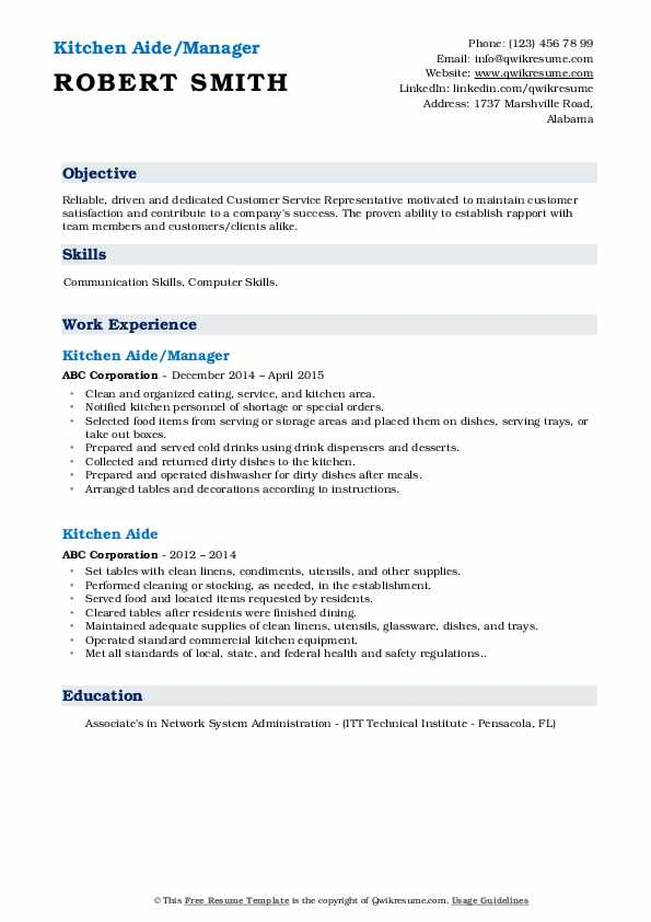 Kitchen Aide/Manager Resume Template