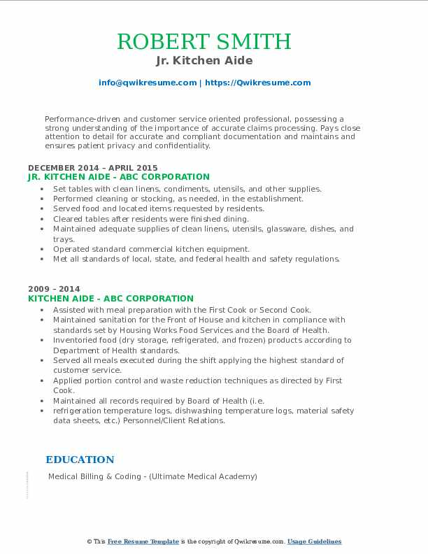 Jr. Kitchen Aide Resume Template