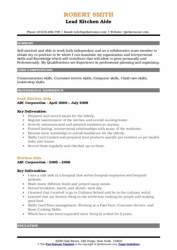 Lead Kitchen Aide Resume Template