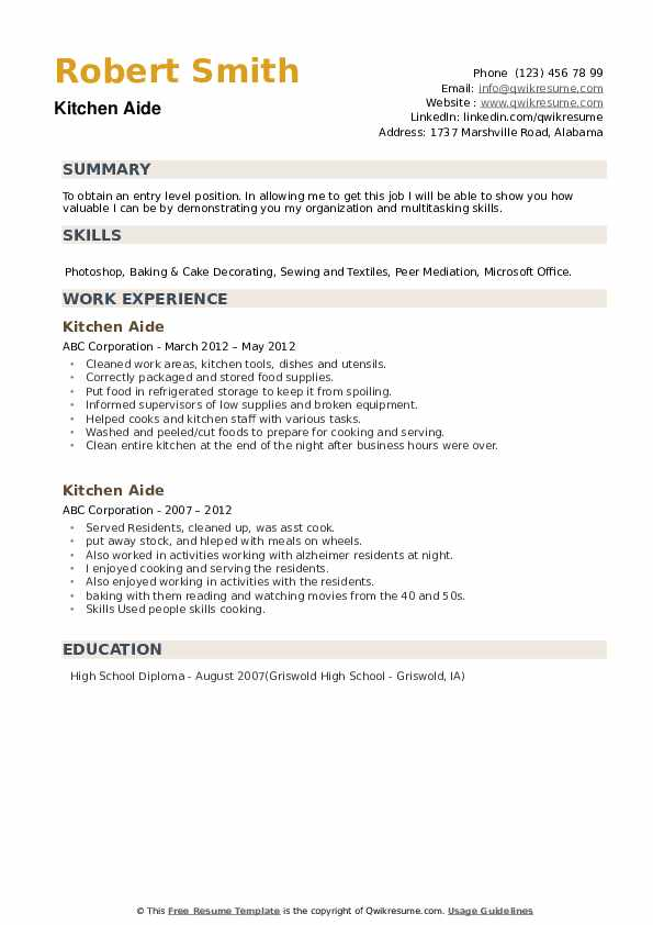 Kitchen Aide Resume example