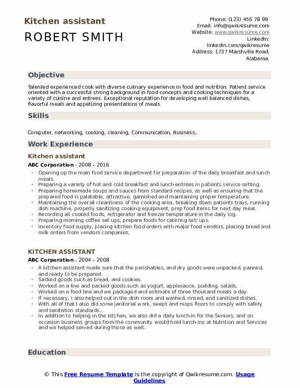 Kitchen assistant Resume Model