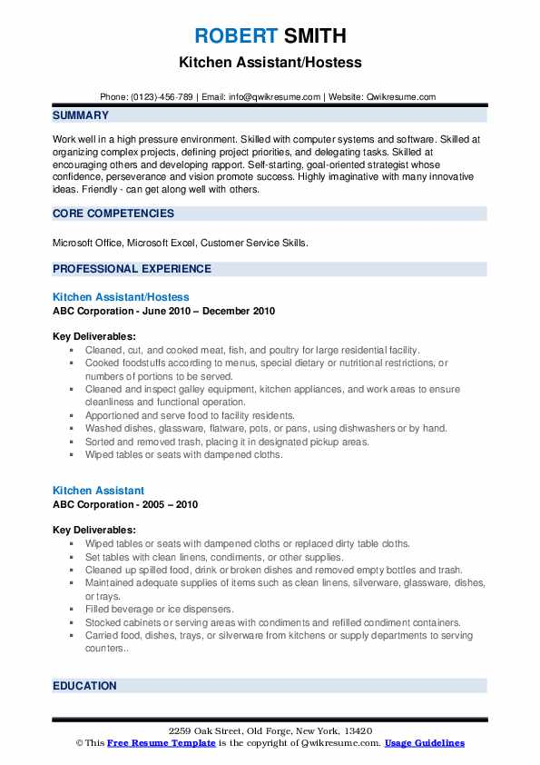 Kitchen Assistant/Hostess Resume Template