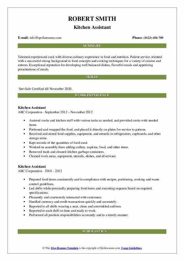 Kitchen Assistant Resume Format