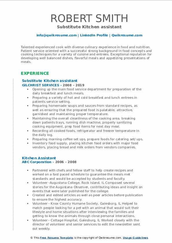 Substitute Kitchen assistant Resume Format