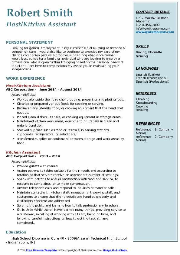 Host/Kitchen Assistant Resume Template