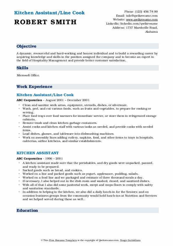 Kitchen Assistant/Line Cook Resume Sample