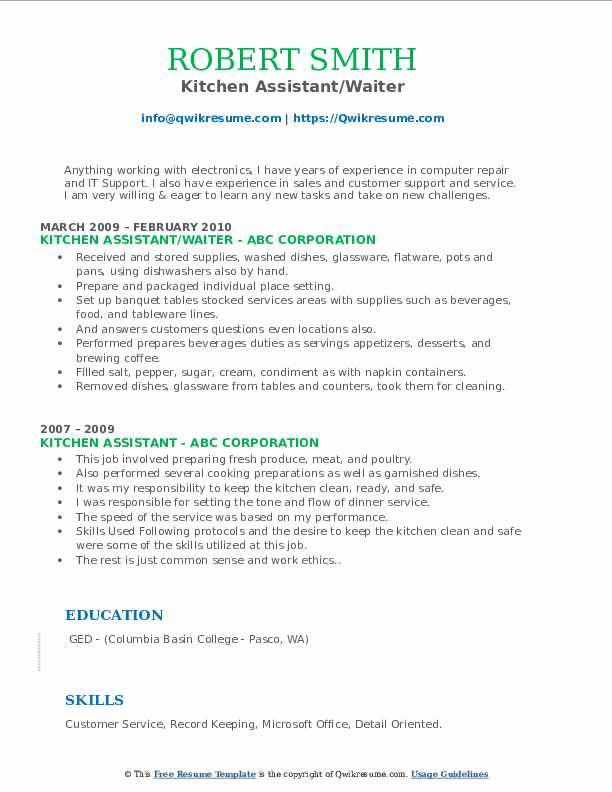 Kitchen Assistant/Waiter Resume Template
