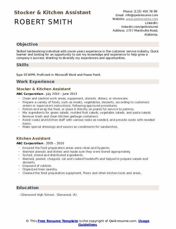 Stocker & Kitchen Assistant Resume Template