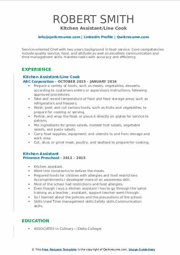 Kitchen Assistant Resume example