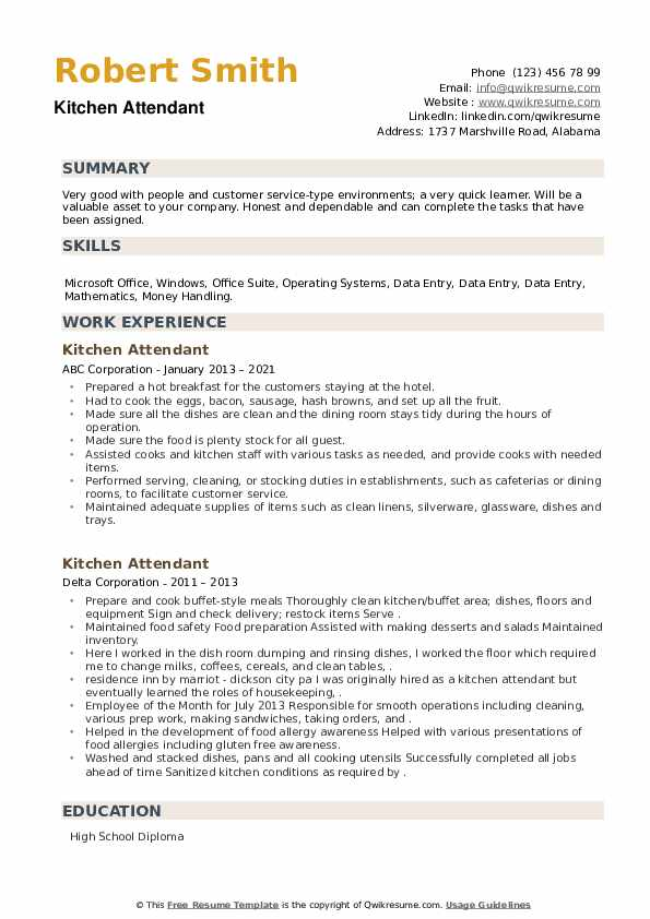 Kitchen Attendant Resume example