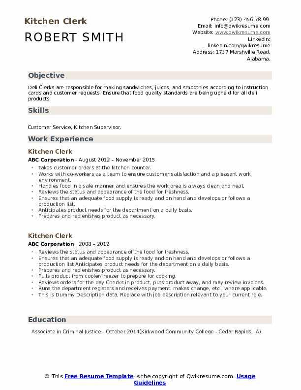 Kitchen Clerk Resume example