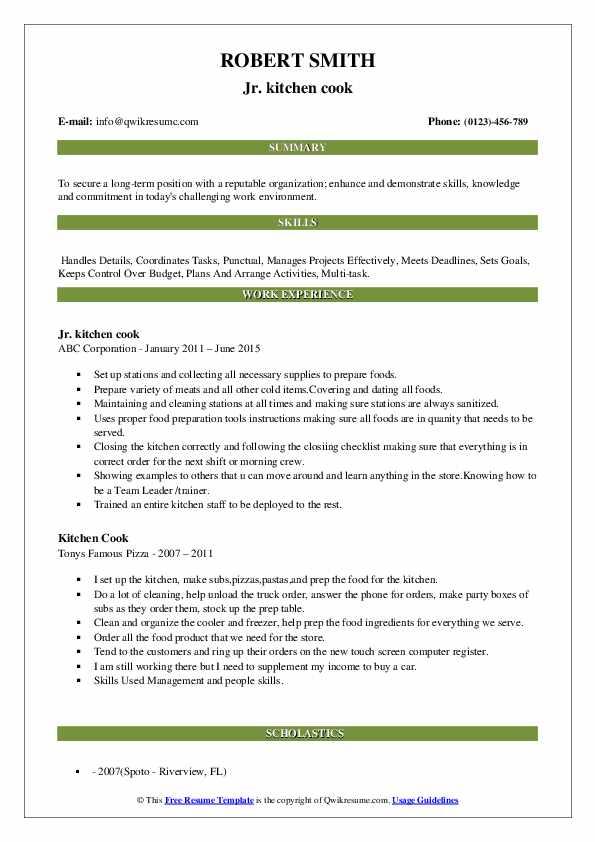 Jr. kitchen cook Resume Format