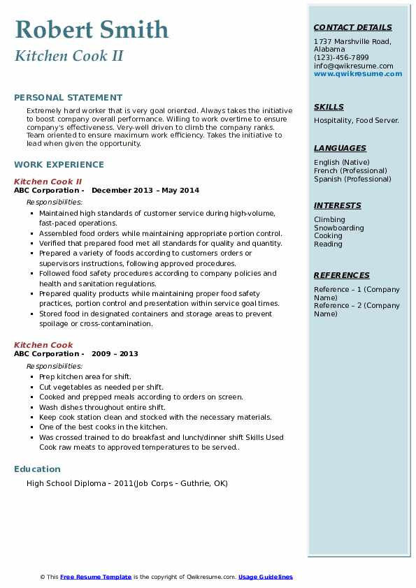 kitchen cook resume samples  qwikresume