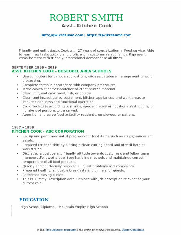 Asst. Kitchen Cook Resume Example