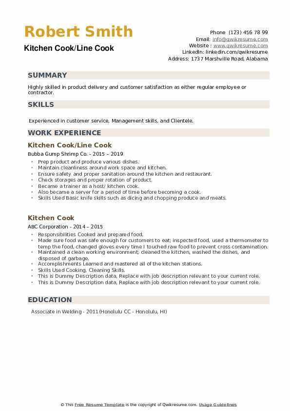 Kitchen Cook/Line Cook Resume Example