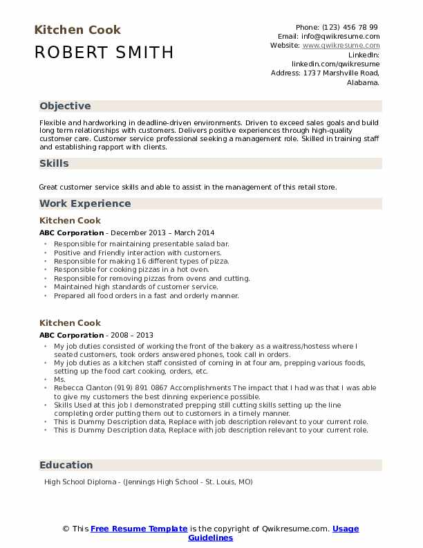 Kitchen Cook Resume example