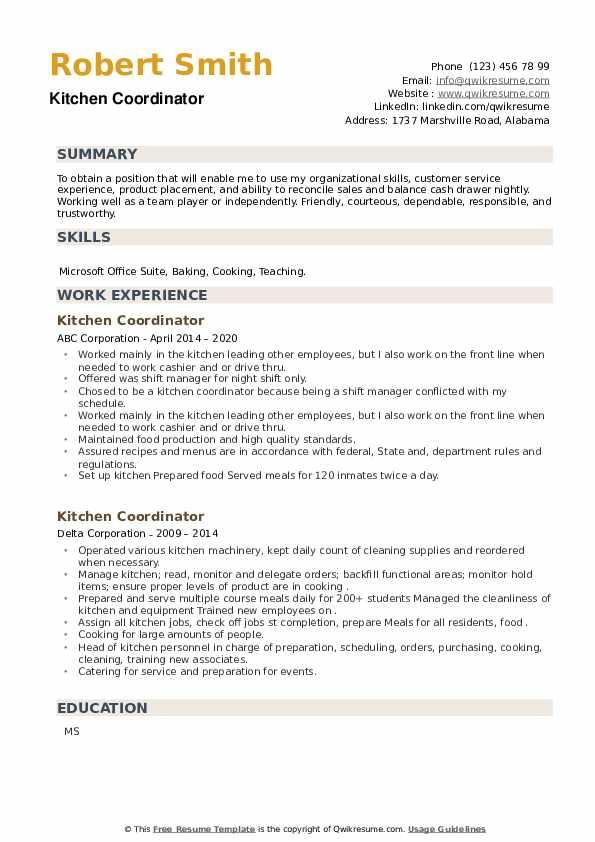 Kitchen Coordinator Resume example